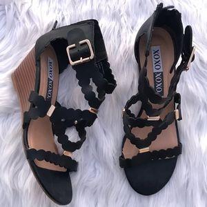XOXO Scottie Scalloped Cutout Wedge Sandal